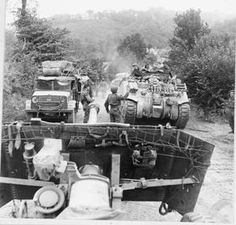 and 'Quad' tractors advancing towards Vire, 2 August Native American History, American Civil War, British History, Women's History, Ancient History, D Day Landings, Architecture Art Design, Ww2 Tanks, World Of Tanks
