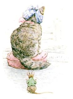 "'The Story of Miss Moppet', 1906 -- by Beatrix Potter. ""Miss Moppet looks worse and worse. The Mouse comes a little nearer. Beatrix Potter Illustrations, Book Illustrations, Tudor, Beatrice Potter, Peter Rabbit And Friends, Book Of Kells, Cat Paws, Chalk Pastels, Wood Engraving"