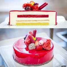 Inside and outside of the Ivoire white chocolate mousse, raspberry jelly, white chocolate éclat d'or, olive oil cake Entremet , photo by @alexayerphotography #bachour #bachourclass #bachourstyle #antoniobachour #bachour1234 #valrhona | by Pastry Chef Antonio Bachour