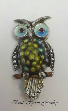 Vintage Sterling Alice Caviness Owl Pin Brooch by Bentspoonjewelry, $46.50