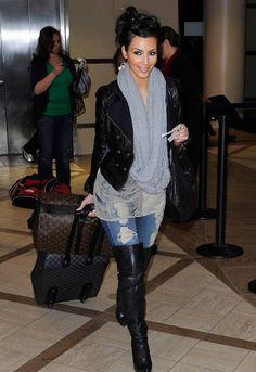 thigh high boots #airportfashion