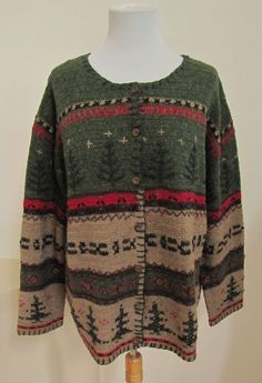 Talbots Woman Cardigan Sweater 1X Wool Blend Green Rustic Winter Holiday Trees #TalbotsWoman #WinterCardigan #SaveonYourStyle