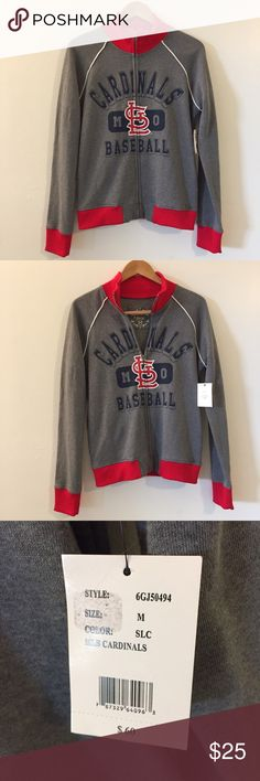 NWT Cardinals baseball zip up sweater This sweaters new and in excellent condition! The brand is G for her by Alyssa Milano. 60% cotton 40% polyester. Non-smoking pet free home. 21 inches across the bust.                             suggested user • fast shipper                           bundle to save 15% Sweaters Cardigans