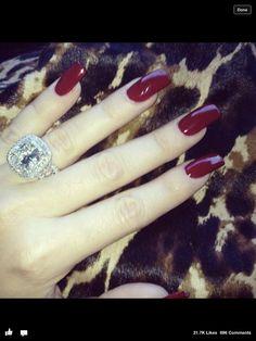 Mani Monday: Khloe Kardashian's Long Red Nails Red Manicure, Red Nails, Love Nails, How To Do Nails, Pretty Nails, Hair And Nails, Bling Nails, Burgundy Nail Designs, Burgundy Nails