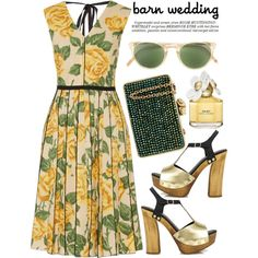 Barn Wedding by alaria on Polyvore featuring Marc Jacobs, Just Cavalli, Wilbur & Gussie, Oliver Peoples, Whiteley, bestdressedguest and barnwedding