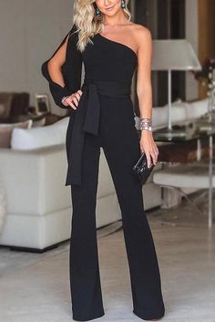 Stylish One Shoulder Slit Sleeve Jumpsuit - Herren- und Damenmode - Kleidung Trend Fashion, Fashion Women, Fashion Online, Fashion Ideas, Fashion 2018, Fashion Fashion, Fashion Stores, Fashion Sewing, Fashion Black
