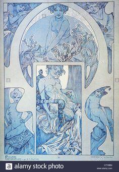 Alphonse Maria Mucha 1860 - 1939 Figures décoratives - Blue woman study Stock Photo
