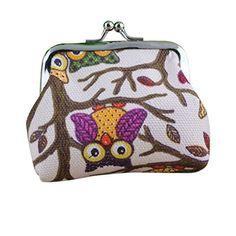 Sandistore Women Lady Lovely Small Wallet Hasp Owl Purse Clutch Bag (Beige)