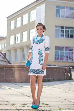 Ukrainian Handmade Beaded Dress / Seed Bead by aCrossUkraine Mexican Fashion, Mexican Outfit, Mexican Dresses, Folk Fashion, Ethnic Fashion, Dress Outfits, Cute Outfits, Fashion Outfits, Cute Dresses
