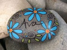 Hand-painted, one-of-a-kind Happy Rock - Ava. This beautiful one-of-a-kind river rock was found on t Happy Rock, Pebble Painting, Pebble Art, Stone Painting, Pebble Mosaic, Painted River Rocks, Hand Painted Rocks, Rock Painting Ideas Easy, Rock Painting Designs