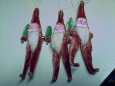 3 Vtg. chenille and paper mache santa ornament figures