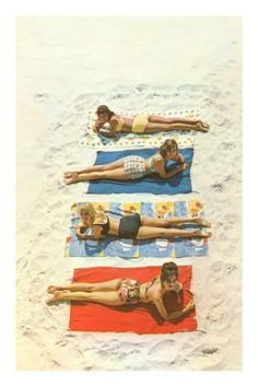 Four Girls on Beach Towels Premium Poster