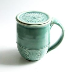 Ceramic Coffee Mug with Lid, Lidded Coffee Mug - Can Be Personalized - MADE TO ORDER