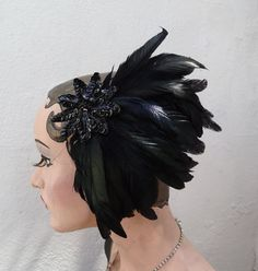 Black Feather Fascinator Hair Accessory Clip by BatcakesCouture