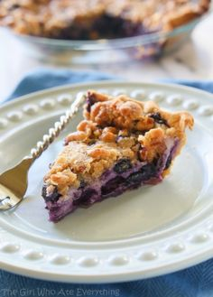 Blueberry Custard Pie | The Girl Who Ate Everything. A creamy blueberry custard topped with a sweet streusel.