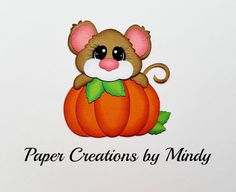 Craftecafe Mindy Halloween Pumpkin Mouse premade paper piece scrapbook Title…