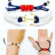 This handmade macrame bracelet is made with Blue, White, and Red Satin Rattail Cord, Golden Metal Beads, and a Golden Metal Anchor. This nautical