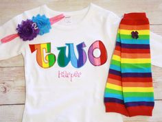 Rainbow Birthday TWO Outfit for Girls First by RightUpYourAli1