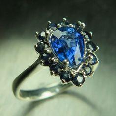 1.55ct Natural royal blue Kyanite & blue sapphires by EVGAD