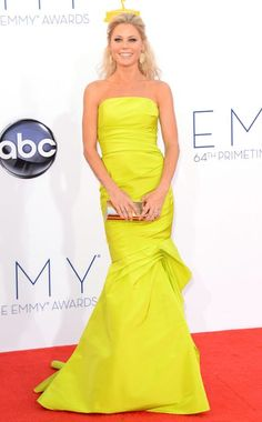 Love the neon! Julie Bown in Monique Lhuillier at the 2012 Emmy Awards.  #redcarpet #Emmys