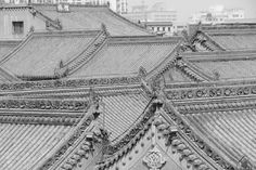 Architecture traditionnelle à Xi'an, #Xian #china #tradition #roof #bandw #black #white