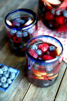 Red, White & Blue Sangria from NoblePig.com. Perfect for your 4th of July celebration,