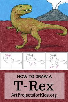 Learn how to draw a T-Rex with this easy step by step tutorial. #artprojects #artprojectsforkids #drawing #howtodraw #howtodrawforkids