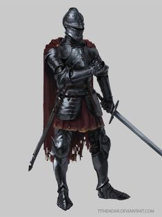 m Fighter plate mail armor helm sword cape Knight by tithendar.deviantart.com on @DeviantArt