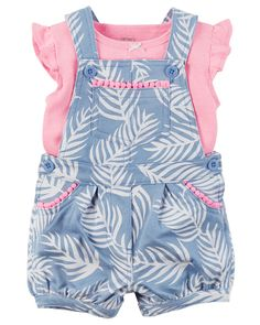2-Piece Neon Top & Shortalls Set Crafted in cozy French terry, these floral shortalls are made to be played in! A sweet satin bow adorns the coordinating soft cotton tee.