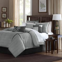 Madison Park Meyers Grey 7-piece Comforter Set   Overstock.com    Price: $99.99    This comforter will work with the gray carpet.