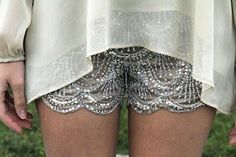 LOVE. Sequin Lace Shorts.