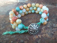 Beaded Macrame Cuff, Cuff Bracelet, Green Cream Orange Agate 8mm Faceted Round, Natural Stone, Gifts for Her, Healing Stone, Bohemian. $70.00, via Etsy.