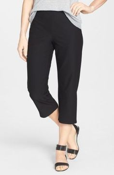 NWT Eileen Fisher Slim Crepe Stretch Capri Pants Black Petite Small #EileenFisher #CaprisCropped