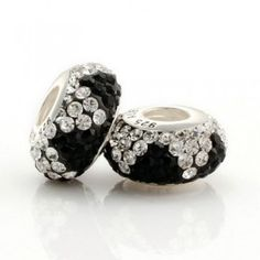 Silver Black White  Match Crystal Bead
