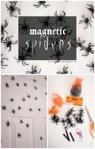 Magnetic Spiders - 40 Easy to Make DIY Halloween Decor Ideas