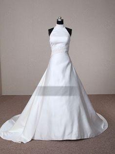 Find Wholesale - A-line High Neck Satin Chapel Train White Wedding Dress at Pickeddresses.com