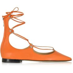 Pinko Shoes Mercurio Orange Leather Pointed Ballet Flats ($195) ❤ liked on Polyvore featuring shoes, flats, ballet flats, pointed leather flats, pointy toe ballet flats, orange ballet flats and orange flats