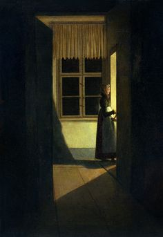 Woman on the stairs by Caspar David Friedrich. Romanticism. genre painting