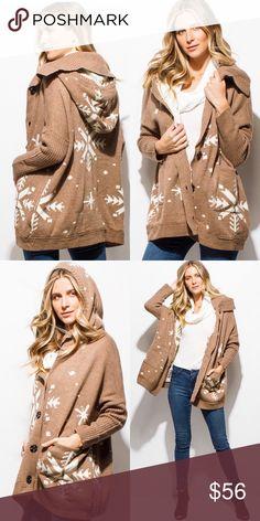 "Arrives 12/18 Khaki Tan Snowflake Sweater/Jacket Khaki tan snowflake print, dolman sleeve, button up hooded sweater.  75% Polyester, 25% Wool. Model Is 5'9"", Chest 30A, Waist 24"", Hips 34. Jackets & Coats"