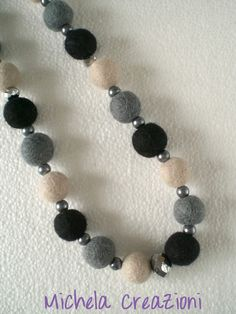 Black and grey felt balls necklace