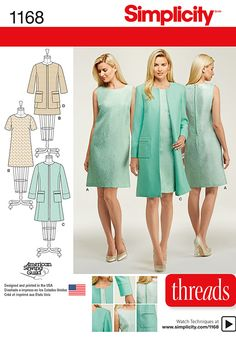 Sew a stylish ensemble – perfect for Easter or other spring celebrations. Simplicity pattern 1168 includes dress and coat or jacket in Misses and Miss Petite sizes.