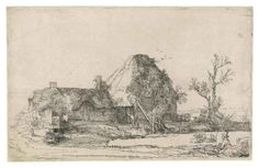 COTTAGES AND FARM BUILDINGS WITH A MAN SKETCHING 1645-Rembrandt