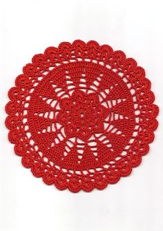 Vintage Handmade Crochet Doily Lace Lacy Doilies Wedding Decoration Home Decor Flower Mandala Dream Catcher Crocheted Pineapple Round Red Modern Style Handmade crocheted doily from high quality 100 % mercerized cotton thread in red color. Doily size: ~7.5 (19cm) in diameter. Will