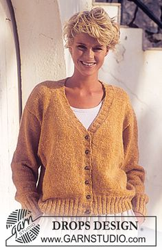 Ravelry: V-neck cardigan pattern by DROPS design V Neck Cardigan, Cardigan Pattern, Knit Cardigan, Baby Knitting Patterns, Free Knitting, Pull Angora, Drops Design, Free Pattern, Men Sweater