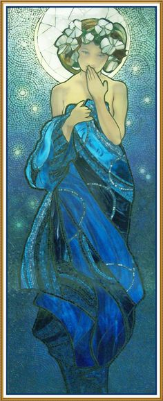 Night Sky by Alphonse Mucha Counted Cross Stitch or Counted Needlepoint Pattern