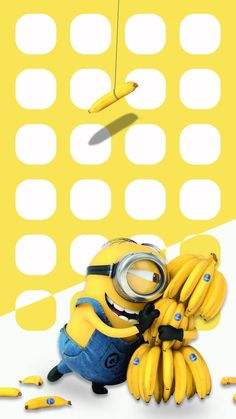 ↑↑TAP AND GET THE FREE APP! Shelves Icons Banana Cute Minions Funny Cool Yellow Bright HD iPhone 6 Wallpaper