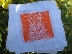Cocktail Napkins / Coasters - Pineapple - Orange on White Linen