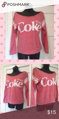 💜Just In💜 Enjoy Coke Vintage Top Size S Coca Cola Off-Shoulder Vintage top.  Cotton, Polyester, Rayon Blend.  Size S.  Long Sleeves.  Enjoy Coke. Violet's Finds Tops Tees - Long Sleeve