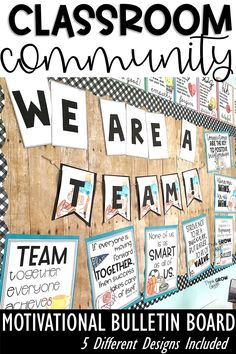 Create a positive classroom community with these motivational quotes and bulletin board set to build strong relationships this back to school season. This set includes 10 community-building quotes in five different styles that you will love! Easy to hang bulletin board letters included, student reflection and illustrations pages also included. Perfect for morning meeting discussions all year long! Click the link to see more of this easy to hang set! Perfect for elementary and middle school. Motivational Bulletin Boards, Motivational Quotes, Building Classroom Community, Bulletin Board Letters, Building Quotes, Back To School Activities, Classroom Environment, Quote Posters, Math Lessons