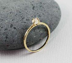 Gold Rough Moon Stone Birthstone Ring June